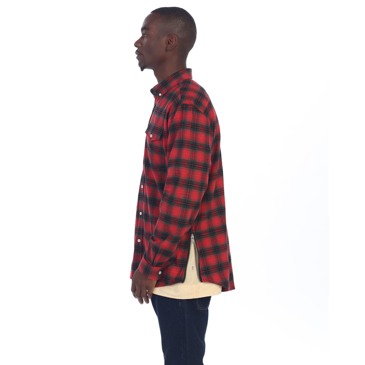 EPTM| Side Zipper Flannel / Red Green