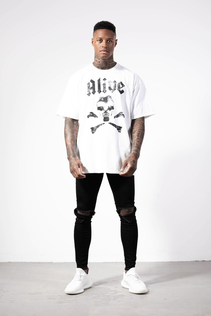 ALIVE DENIM | Black Flag Oversized Tee / White