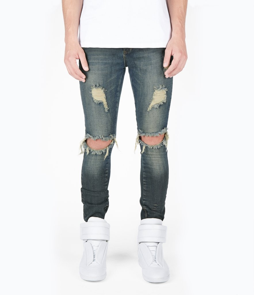 Underated | JN151 Distressed Sandblast Wash Denim - Deep Indigo
