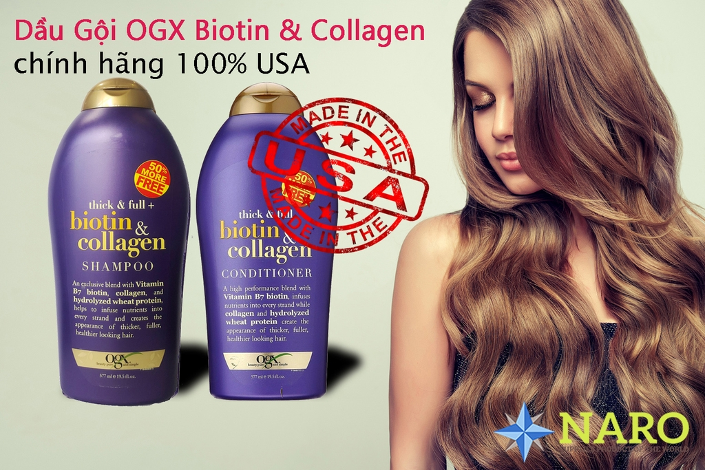 Dầu gội - xả Biotin & Collagen OGX Beauty - 577ml