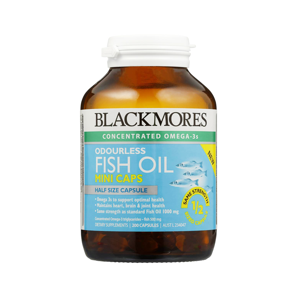 Dầu cá Blackmores Odourless Fish Oil Mini Caps - 200 viên