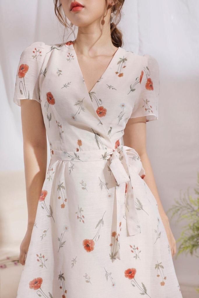 Đầm wrap trắng in hoa lụa tơ hai lớp e1078