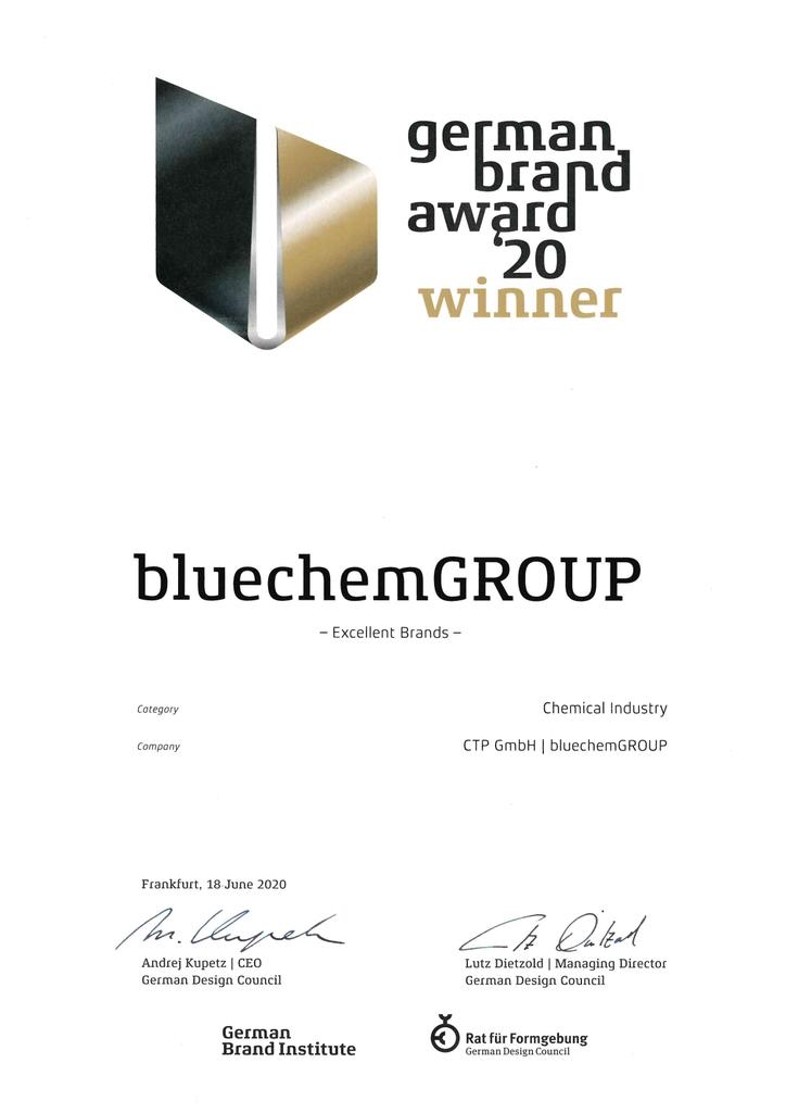 Giải thưởng Thương hiệu nước Đức dành cho bluechemGROUP - www.bluechemgroup .vn