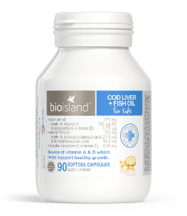 BIO ISLAND COD LIVER &  FISH OIL FOR KIDS 90 CAPSULES