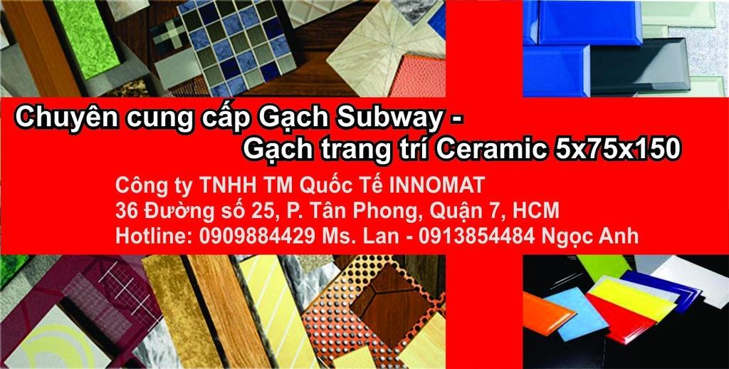 Gạch thẻ, Gạch trang trí, Gạch Subway- Gạch trang trí Ceramic 5x75x150