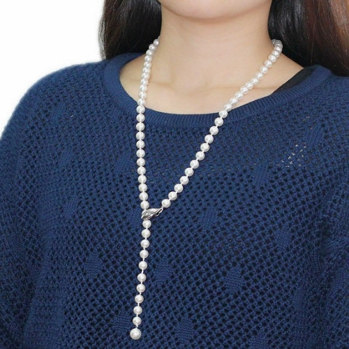Silver dolphin magnet clasp Pearl Necklace