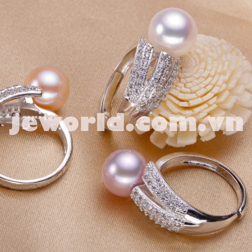 CZ Stone Silver Pearl Ring