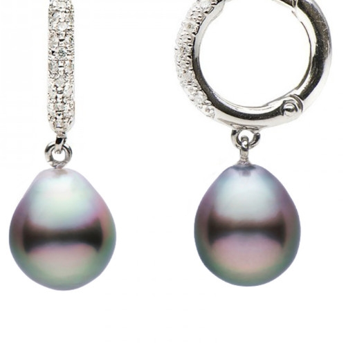 Black Drop Pearl Earrings