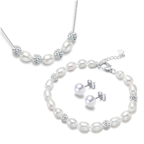 Fresh water pearl and CZ ball jewelry