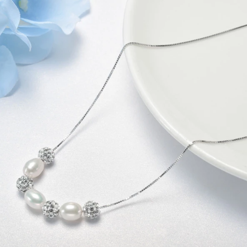 Fresh water pearl and CZ ball necklace