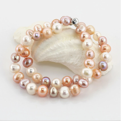Mixed color drop pearl bracelet