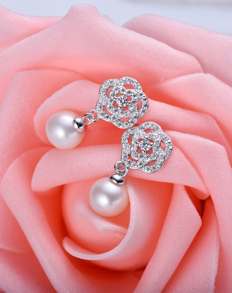 Rose flower round pearl Earrings