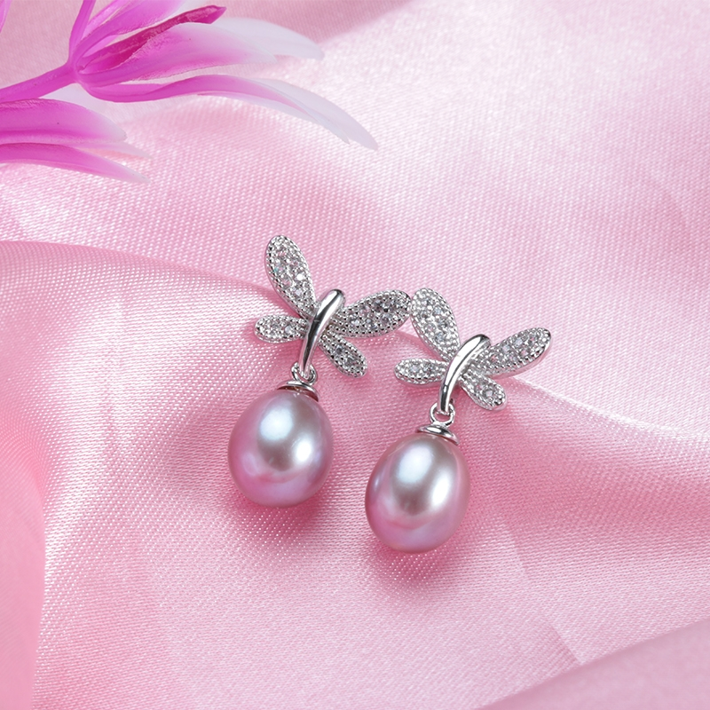 Dragonfly drop pearl Earrings
