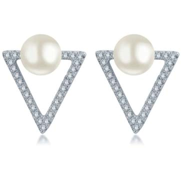 Pearl and Triangle design Earrings