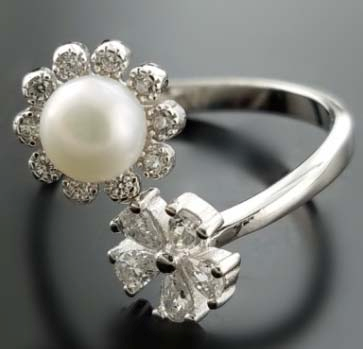 Pearl with Flower holding Ring