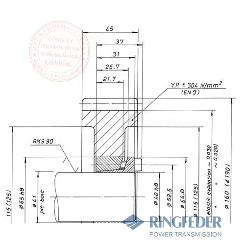 Thiết bị khóa trục côn Ringfeder RfN 7013.0 gearwheels
