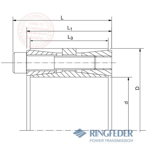 Thiết bị khóa trục côn Ringfeder RfN 7015.0 bản vẽ