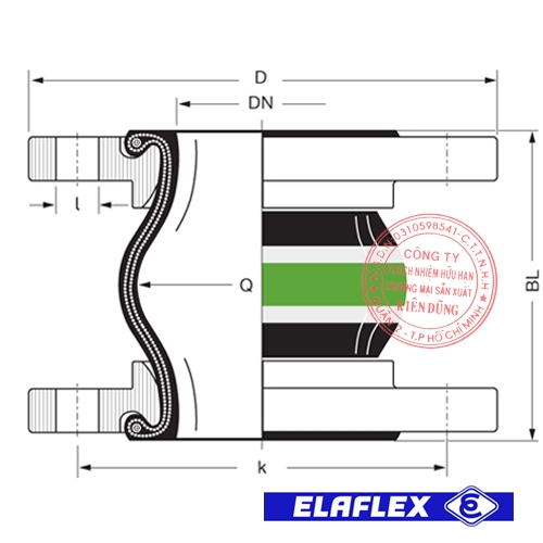 Khớp nối mềm cao su Elaflex VITEX Drawing