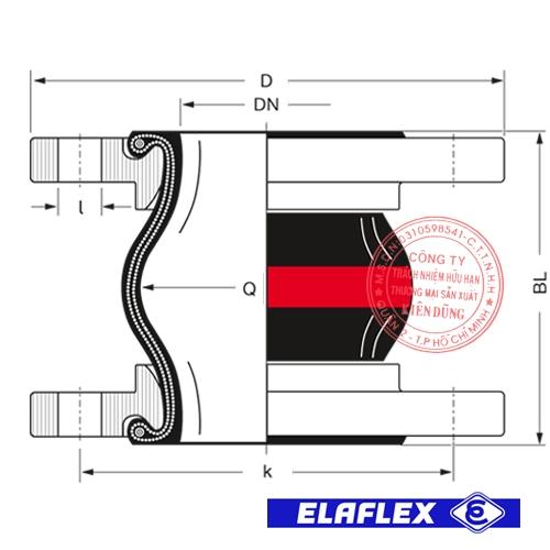 Khớp nối mềm cao su Elaflex ERV-R Drawing