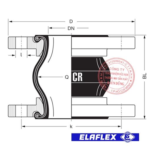 Khớp nối mềm cao su Elaflex ERV-CR Drawing