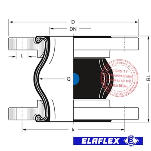 Khớp nối mềm cao su Elaflex ERV-BR Drawing