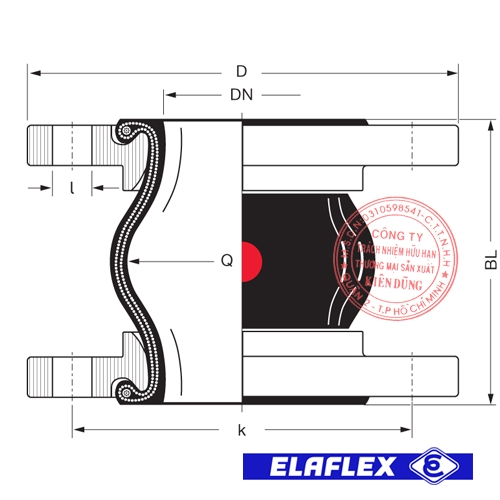 Khớp nối mềm cao su Elaflex ERP Drawing