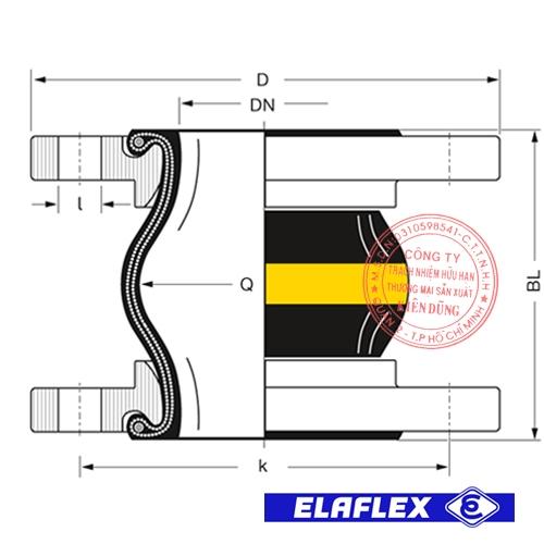 Khớp nối mềm cao su Elaflex ERV-G Drawing