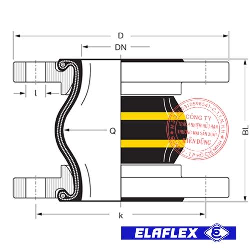 Khớp nối mềm cao su Elaflex ERV-GS Drawing
