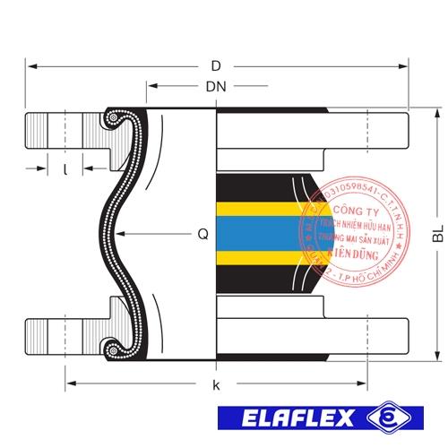 Khớp nối mềm cao su Elaflex ERV-GS HNBR Drawing