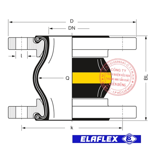 Khớp nối mềm cao su Elaflex ERV-G LT Drawing