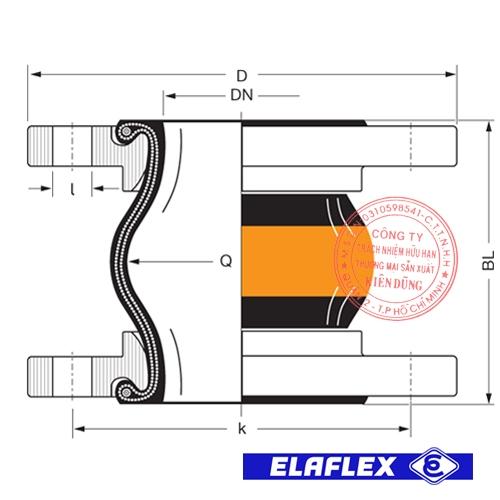 Khớp nối mềm cao su Elaflex ERV-OR Drawing