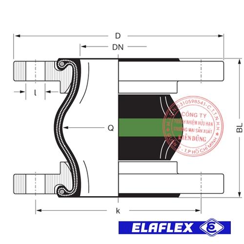 Khớp nối mềm cao su Elaflex ERV-GR Drawing