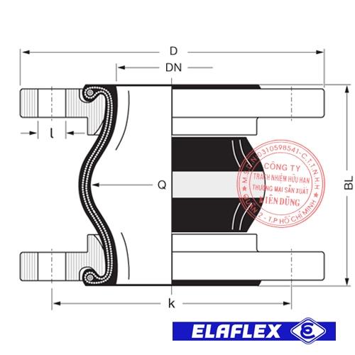 Khớp nối mềm cao su Elaflex ERV-W Drawing