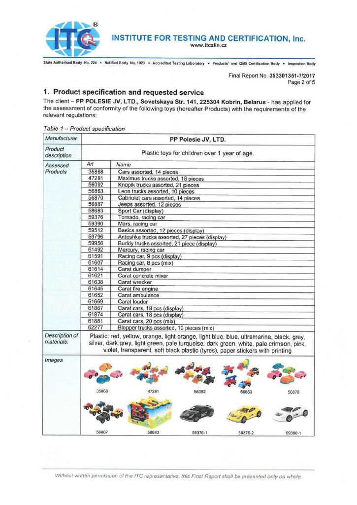 Chứng nhận xe đồ chơi an toàn EN71 Polesie tờ 2