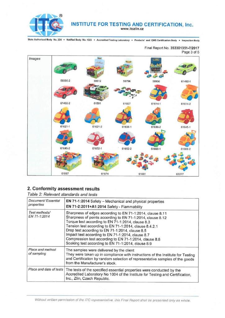 Chứng nhận xe đồ chơi an toàn EN71 Polesie tờ 3