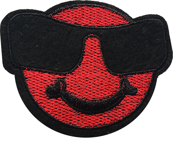 RED SMILEY STICKER 40 - A7 (7cm)