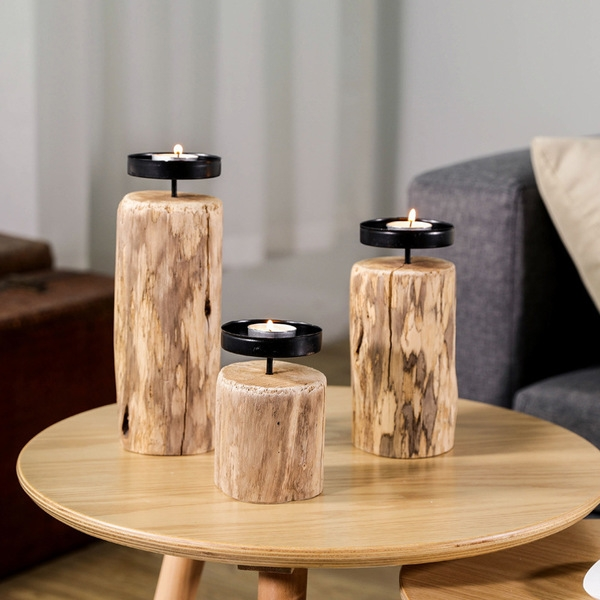 Wooden Candle Stick (Middle Size)