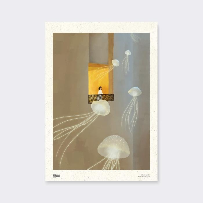 Tranh Poster Jellyfishes | Đốm Illustration