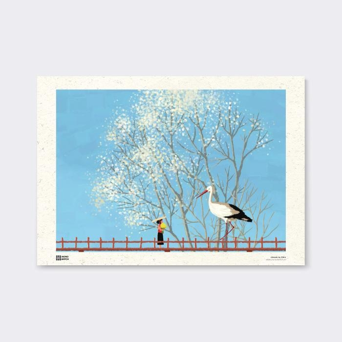 Tranh Poster Spring in White | Đốm Illustration