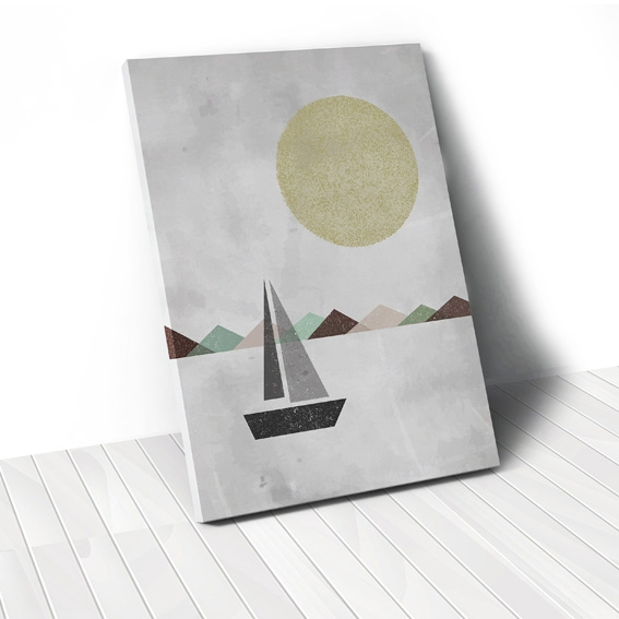 Tranh canvas Sailboat on sea grey