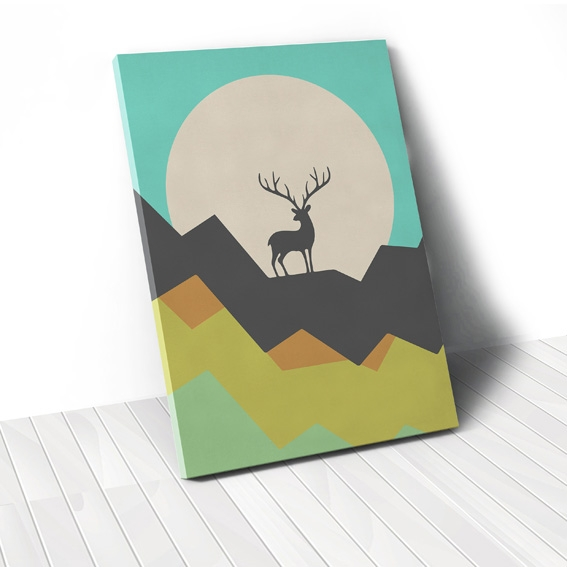 Tranh canvas Abstract Deer, Mountain, Geometric