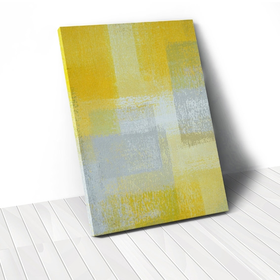 Tranh canvas Abstract Yellow grey