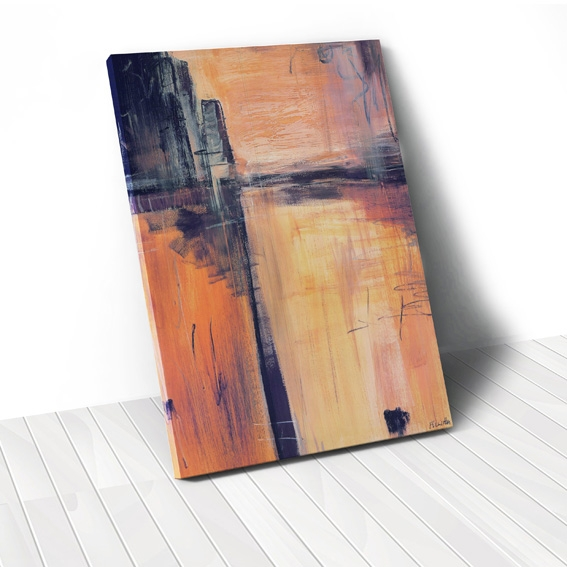 Tranh canvas Abstract landscape, orange black