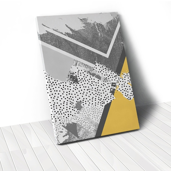 Tranh Yellow Grey geometric