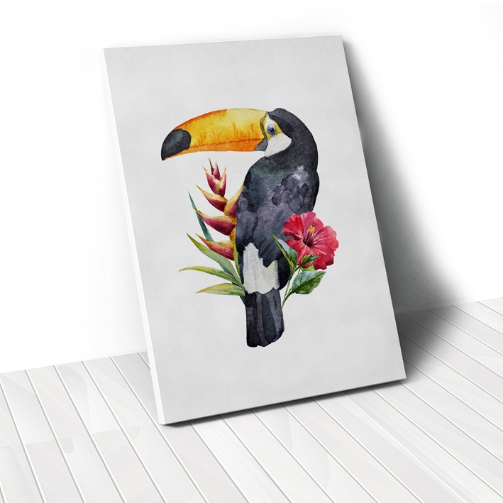 Tranh Parrot with flower 2