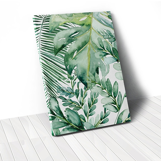 Tranh canvas Watercolor Leaves, Green Leaves
