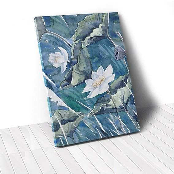 Tranh canvas Watercolor Lotus Flower, Blue