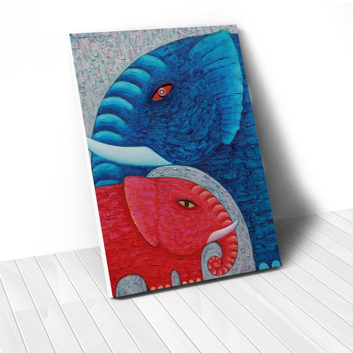 Tranh Elephant blue, red
