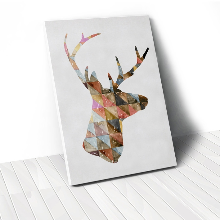 Tranh Colorful Deer geometric