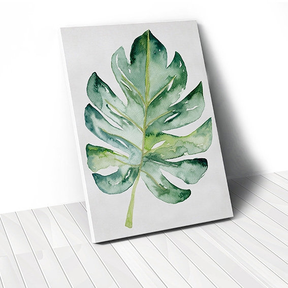 Tranh canvas Watercolor Monstera Leaf